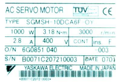 Yaskawa SGMSH-10DCA6F-OY label image