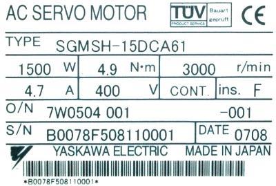 Yaskawa SGMSH-15DCA61 label image