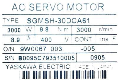 Yaskawa SGMSH-30DCA61 label image