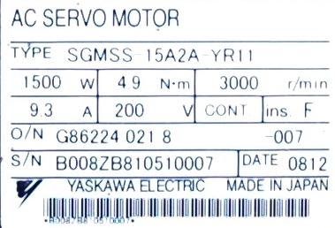 Yaskawa SGMSS-15A2A-YR11 label image