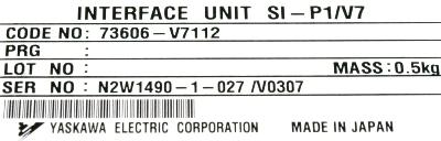 Yaskawa SI-P1-V7 label image