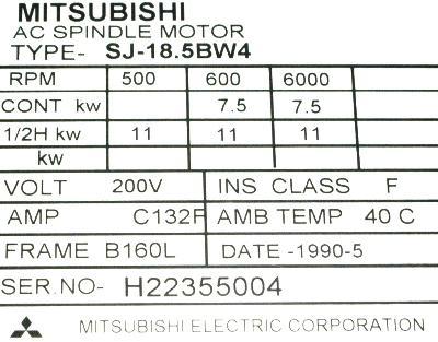 Mitsubishi SJ-18.5BW4 label image