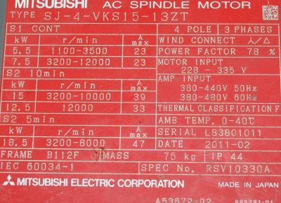 Mitsubishi SJ-4-VKS15-13ZT label image
