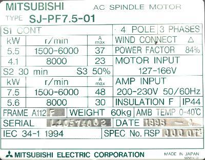 Mitsubishi SJ-PF7.5-01 label image