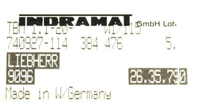 INDRAMAT TBM1.1-20-W1-115 label image