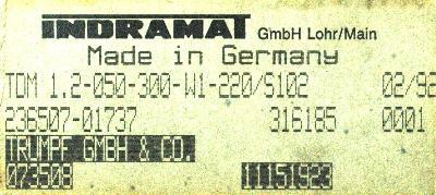 INDRAMAT TDM1.2-050-300-W1-220 label image