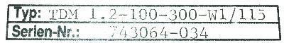 INDRAMAT TDM1.2-100-300-W1-115 label image