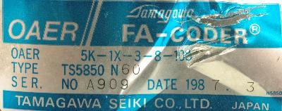 Tamagawa Seiki TS5850N60 label image