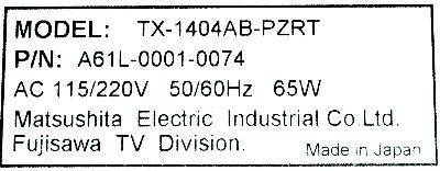 Matsushita TX-1404AB-PZRT label image