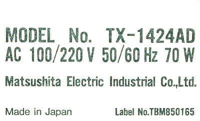 Matsushita TX-1424AD label image