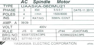 Yaskawa UAASKA-06DMU21 label image
