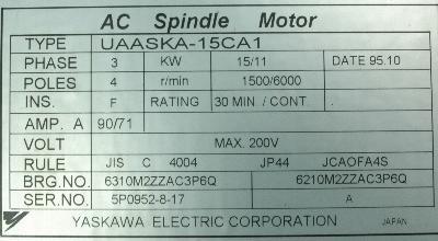 Yaskawa UAASKA-15CA1 label image