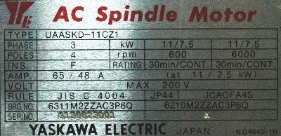 Yaskawa UAASKD-11CZ1 label image