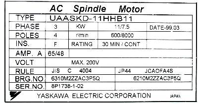 Yaskawa UAASKD-11HHB11 label image