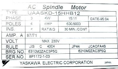 Yaskawa UAASKD-15HHB12 label image