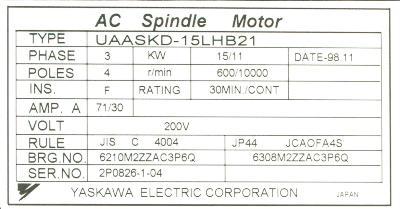 Yaskawa UAASKD-15LHB21 label image