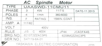 New Refurbished Exchange Repair  Yaskawa Motors-AC Spindle UAASWD-11CMU11 Precision Zone