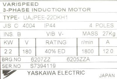 Yaskawa UAJPEE-22DKH1 label image
