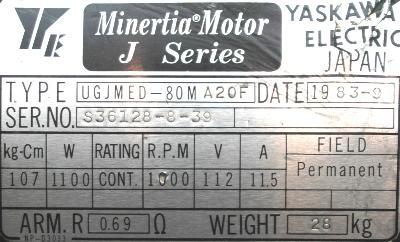 Yaskawa UGJMED-80MA2OF label image