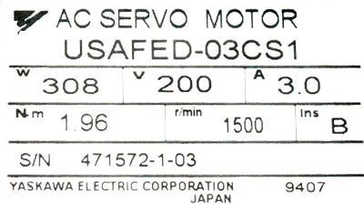 Yaskawa USAFED-03CS1 label image