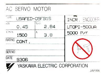 Cnc Servo Motors Yaskawa Usafed 05fb1s Motors Ac Servo