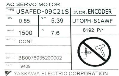 New Refurbished Exchange Repair  Yaskawa Motors-AC Servo USAFED-09C21S Precision Zone
