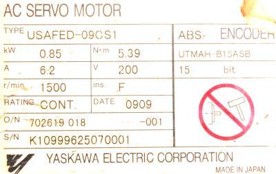 New Refurbished Exchange Repair  Yaskawa Motors-AC Servo USAFED-09CS1 Precision Zone
