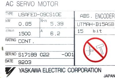 Yaskawa USAFED-09CS1OE label image