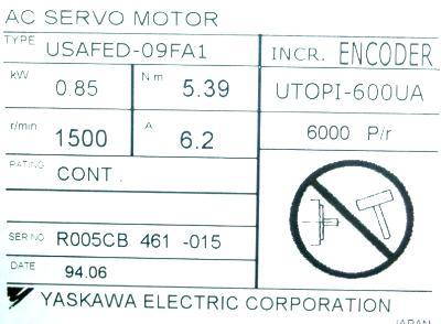 Yaskawa USAFED-09FA1 label image