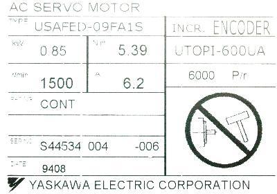 Yaskawa USAFED-09FA1S label image
