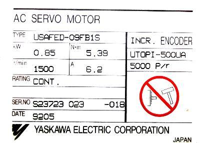 Yaskawa USAFED-09FB1S label image