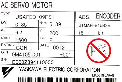 Yaskawa USAFED-09FS1 label image