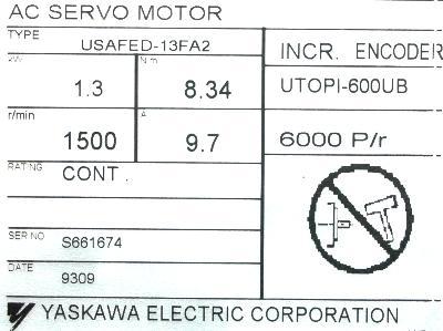 Yaskawa USAFED-13FA2 label image