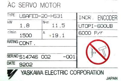 Yaskawa USAFED-20-HS31 label image