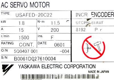 Yaskawa USAFED-20C22 label image