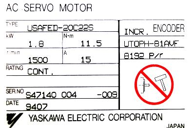 Yaskawa USAFED-20C22S label image