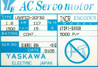 Yaskawa USAFED-20FB2 label image