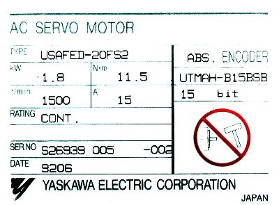 Yaskawa USAFED-20FS2 label image
