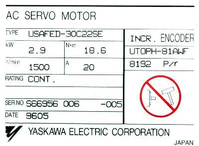 Yaskawa USAFED-30C22SE label image