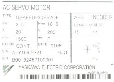 Yaskawa USAFED-30FS2OE label image