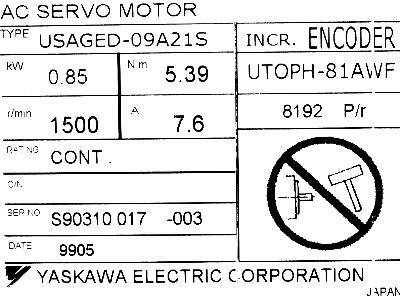 Yaskawa USAGED-09A21S label image