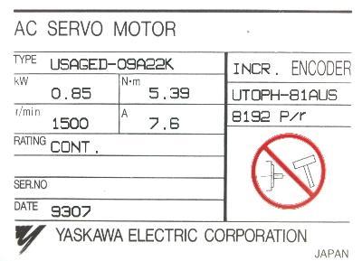 Yaskawa USAGED-09A22K label image