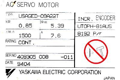 Yaskawa USAGED-09A22T label image