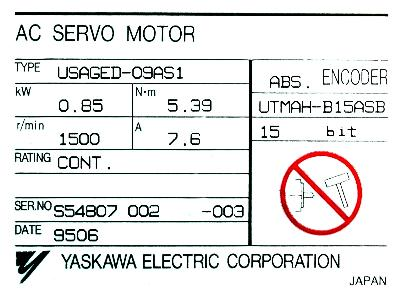 Yaskawa USAGED-09AS1 label image