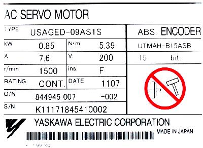 Yaskawa USAGED-09AS1S label image