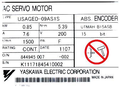 Yaskawa USAGED-09AS1S label image