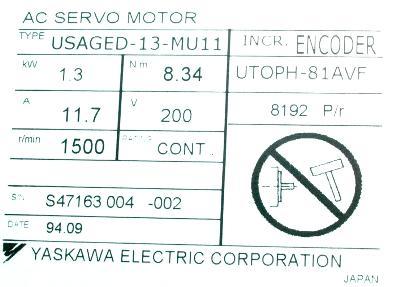 Yaskawa USAGED-13-MU11 label image