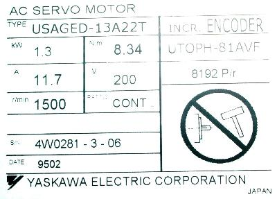 Yaskawa USAGED-13A22T label image