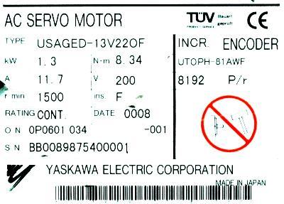 Yaskawa USAGED-13V22OF label image