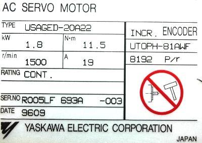 Yaskawa USAGED-20A22 label image